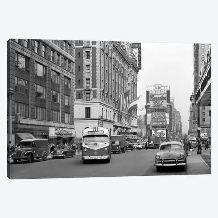 1950s New York City Times Square Traffic Broadway Bus Looking North To Duffy Square From West 44Th Street NYC NY USA Canvas Print #VTG316} by Vintage Images Art Print
