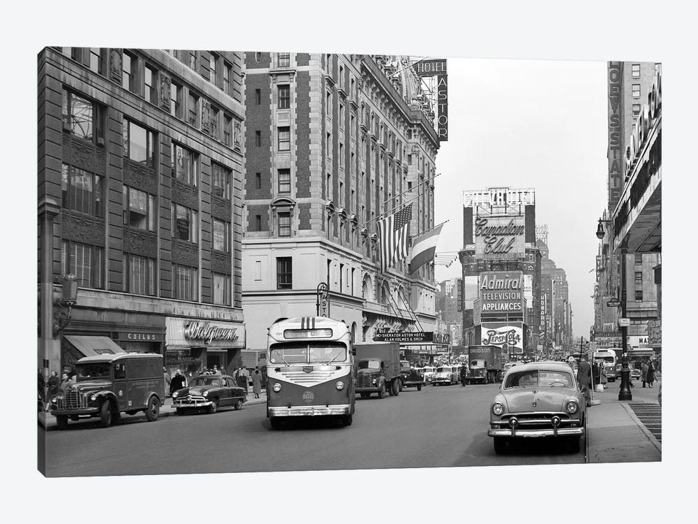 1950s New York City Times Square Traffic Broadway Bus Looking North To Duffy Square From West 44Th Street NYC NY USA by Vintage Images 1-piece Canvas Print
