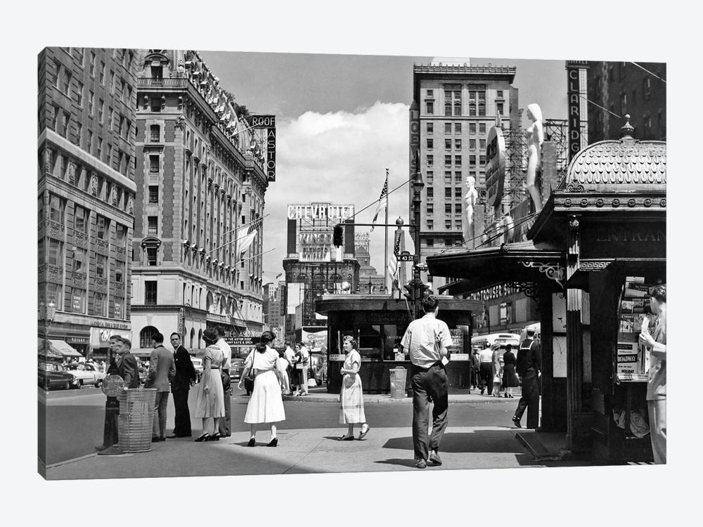 1950s New York City Times Square West 43Rd Street Looking North by Vintage Images 1-piece Canvas Artwork