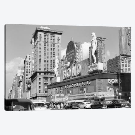 1950s New York City Times Square With Massive Bond Clothing Sign Between 44Th And 45Th Streets Canvas Print #VTG318} by Vintage Images Canvas Artwork