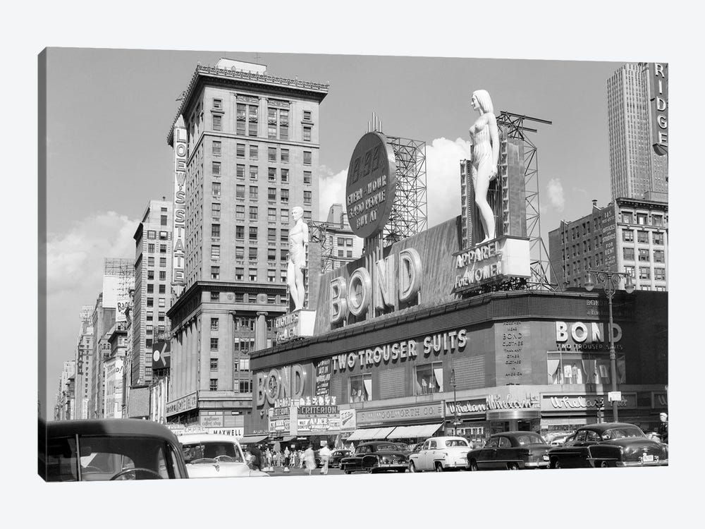 1950s New York City Times Square With Massive Bond Clothing Sign Between 44Th And 45Th Streets by Vintage Images 1-piece Art Print