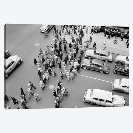 1950s New York City, NY 5th Avenue Overhead View Of Traffic And Pedestrians Crossing Street Rush Hour Canvas Print #VTG319} by Vintage Images Canvas Wall Art