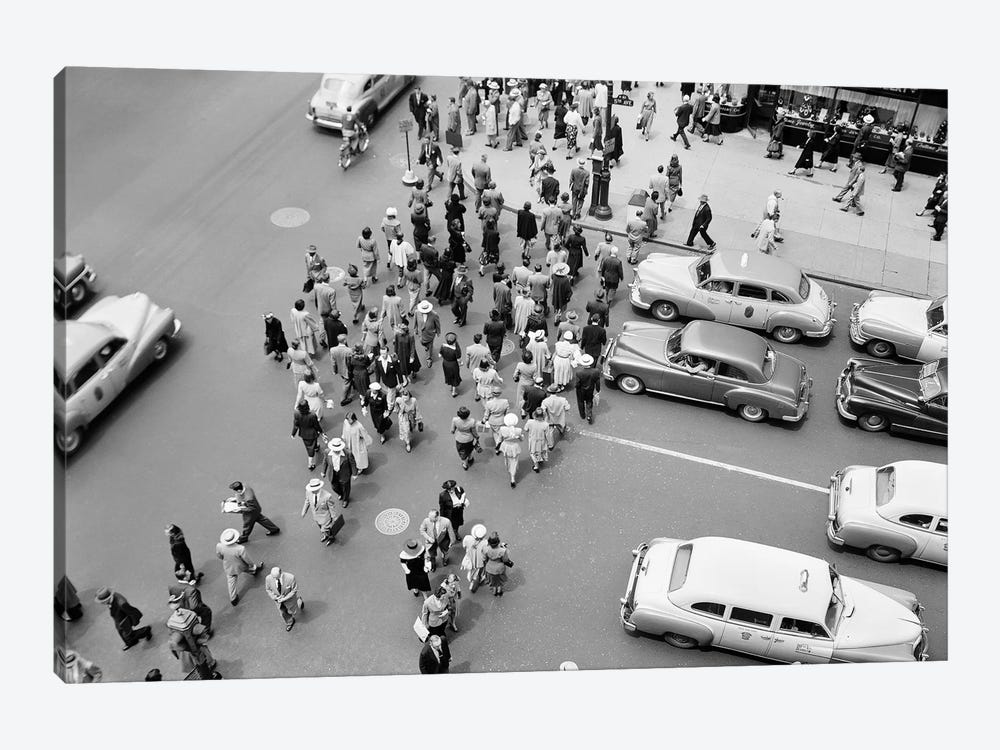 1950s New York City, NY 5th Avenue Overhead View Of Traffic And Pedestrians Crossing Street Rush Hour by Vintage Images 1-piece Canvas Art