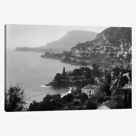 1920s Aerial Nice French Riviera Coastline Cote d'Azur Mediterranean Sea Canvas Print #VTG31} by Vintage Images Art Print