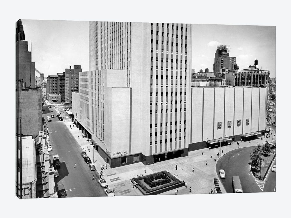 1950s New York Coliseum At Columbus Circle New York City USA by Vintage Images 1-piece Canvas Wall Art