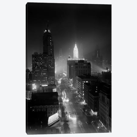 1950s Night Aerial Chicago Illinois Looking Down On Michigan Avenue Canvas Print #VTG321} by Vintage Images Art Print