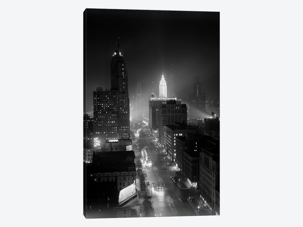 1950s Night Aerial Chicago Illinois Looking Down On Michigan Avenue by Vintage Images 1-piece Canvas Print