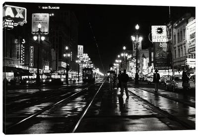 1950s Night Scene Canal Street New Orleans Louisiana USA Canvas Art Print