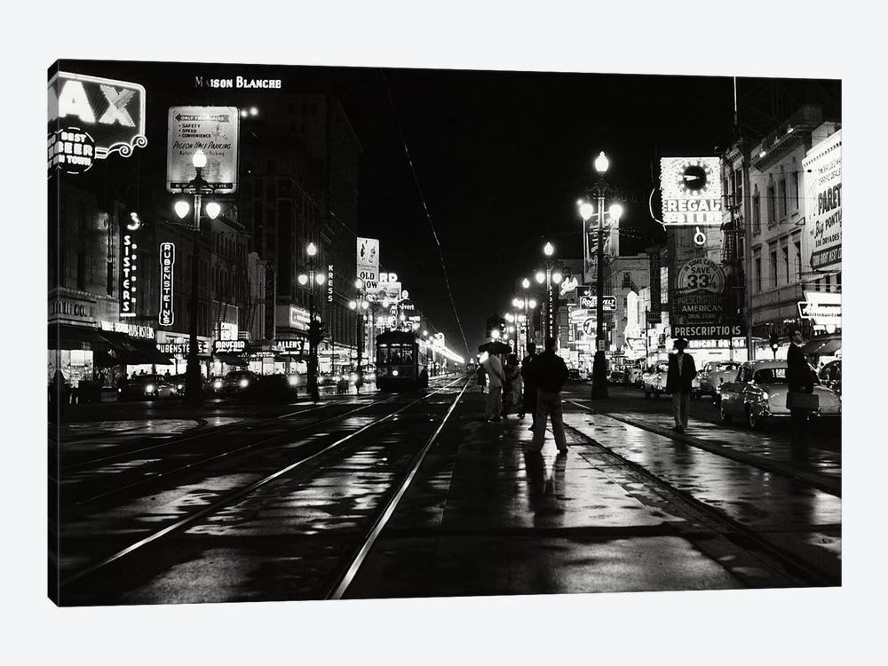 1950s Night Scene Canal Street New Orleans Louisiana USA by Vintage Images 1-piece Canvas Wall Art