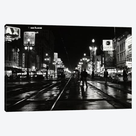 1950s Night Scene Canal Street New Orleans Louisiana USA Canvas Print #VTG322} by Vintage Images Canvas Art Print
