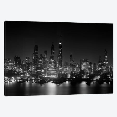 1950s Night Skyline Empire State Building Above Hudson River Midtown Manhattan New York City USA Canvas Print #VTG323} by Vintage Images Canvas Print