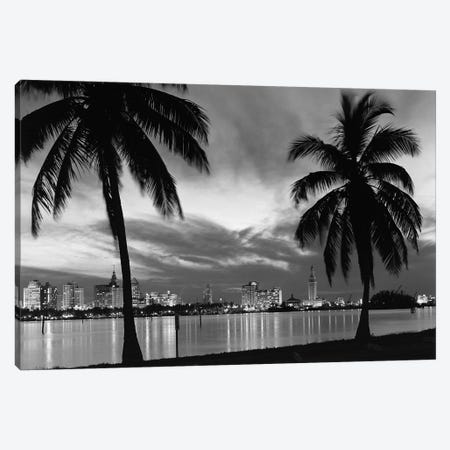 1950s Night Skyline View Across The Bay Two Palm Trees Silhouetted In Foreground Miami Florida USA 3-Piece Canvas #VTG324} by Vintage Images Canvas Wall Art