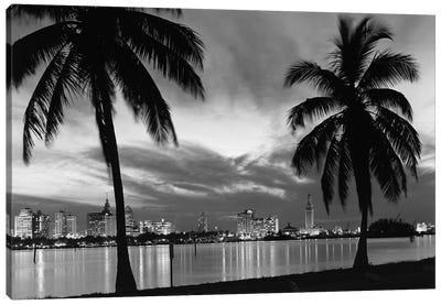1950s Night Skyline View Across The Bay Two Palm Trees Silhouetted In Foreground Miami Florida USA Canvas Art Print