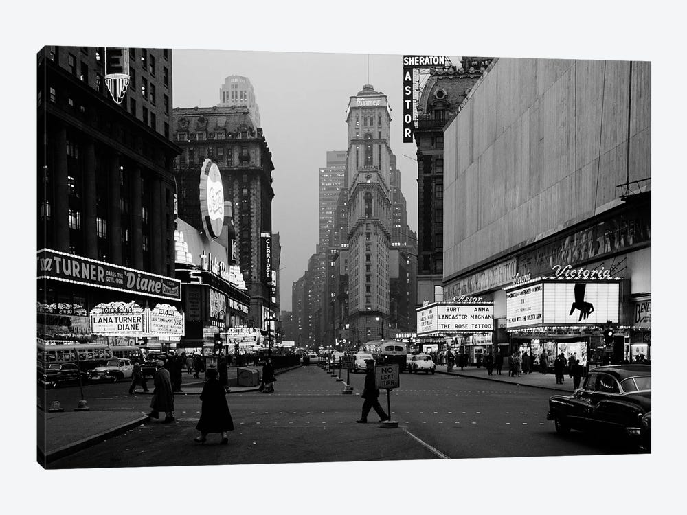 1950s Night Times Square Looking South From Duffy Square To NY Times Building Movie Marquees New York City NY USA by Vintage Images 1-piece Canvas Print
