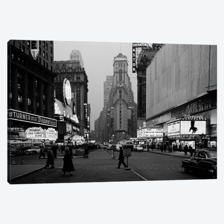 1950s Night Times Square Looking South From Duffy Square To NY Times Building Movie Marquees New York City NY USA Canvas Print #VTG325} by Vintage Images Canvas Art