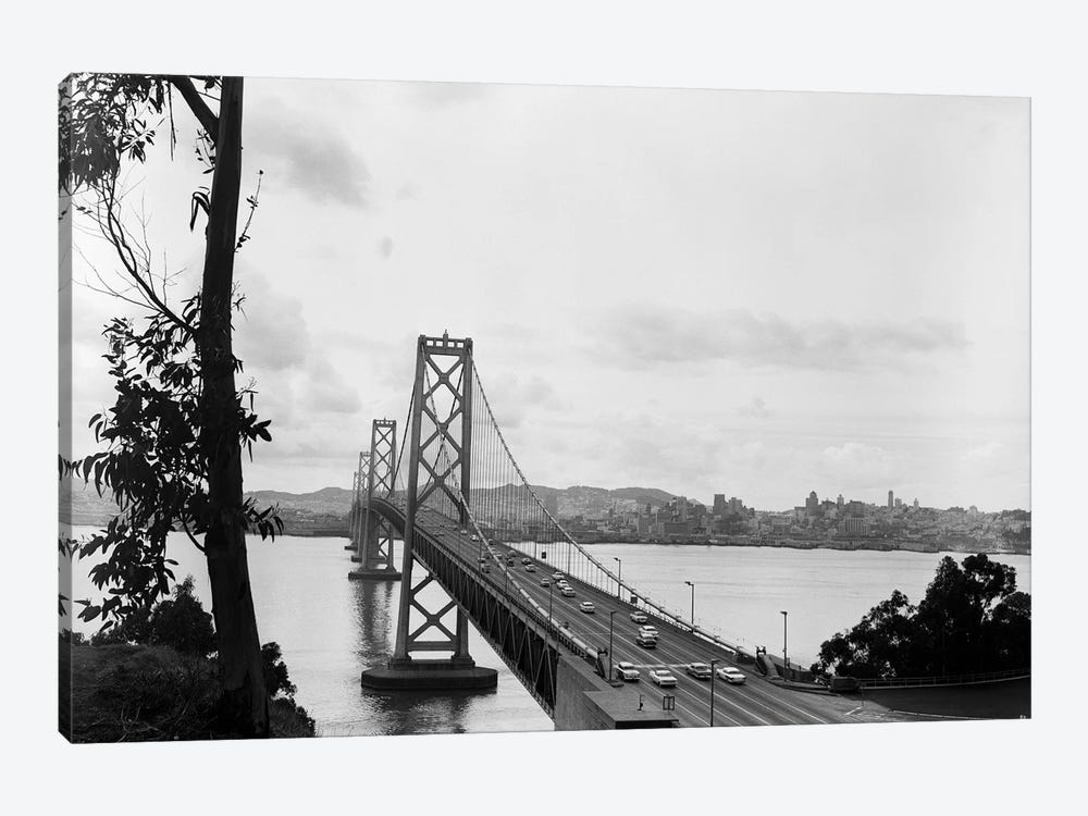 1950s Oakland Bay Bridge San Francisco California 1-piece Canvas Wall Art