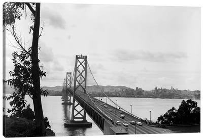 1950s Oakland Bay Bridge San Francisco California Canvas Art Print