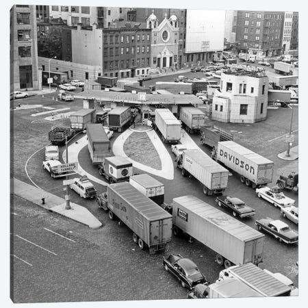 1950s Overhead Of Traffic Congestion At Entrance To Holland Tunnel In New York City USA Canvas Print #VTG327} by Vintage Images Canvas Art