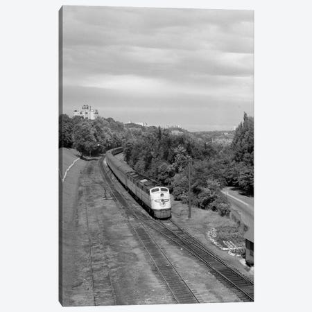 1950s Overhead View Of Streamlined Front Cab Diesel Locomotive Passenger Railroad Train Passing Through Suburban Area Canvas Print #VTG328} by Vintage Images Canvas Print