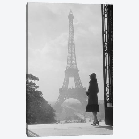 1920s Anonymous Silhouetted Woman Standing In Profile In The Trocadero Across The Seine From The Eiffel Tower Paris France Canvas Print #VTG32} by Vintage Images Canvas Art Print