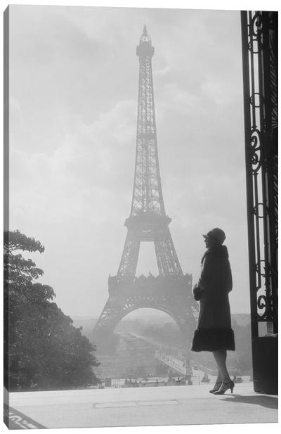 1920s Anonymous Silhouetted Woman Standing In Profile In The Trocadero Across The Seine From The Eiffel Tower Paris France Canvas Art Print