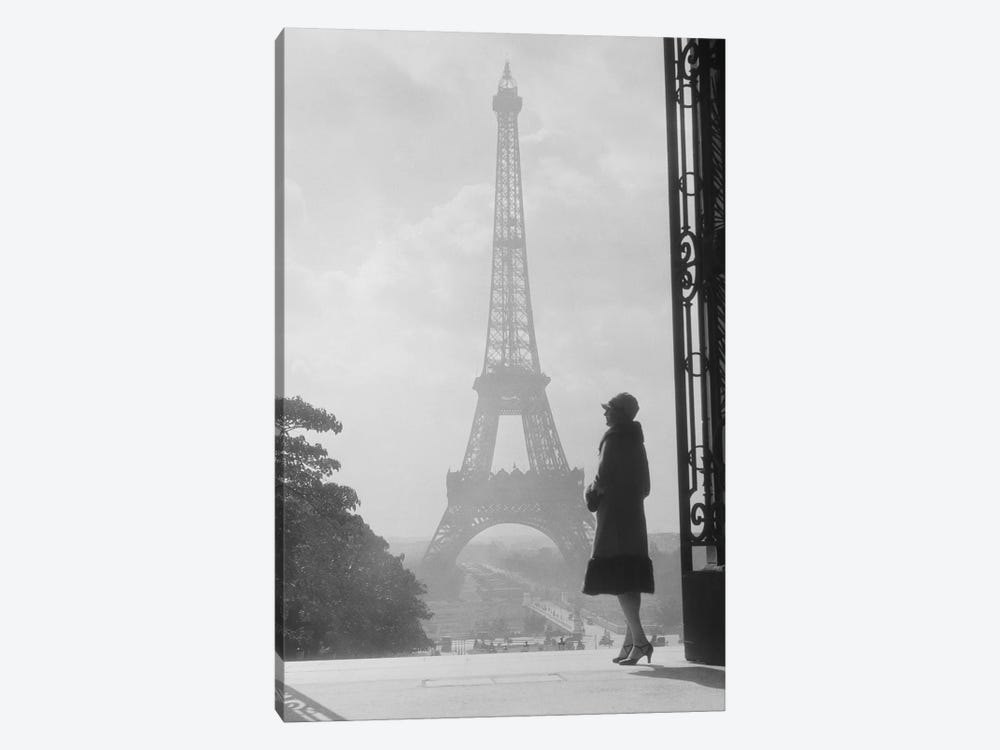 1920s Anonymous Silhouetted Woman Standing In Profile In The Trocadero Across The Seine From The Eiffel Tower Paris France by Vintage Images 1-piece Art Print
