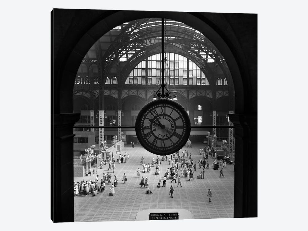 1950s Pennsylvania Station Clock New York City Building Demolished In 1966 NYC NY USA by Vintage Images 1-piece Canvas Print