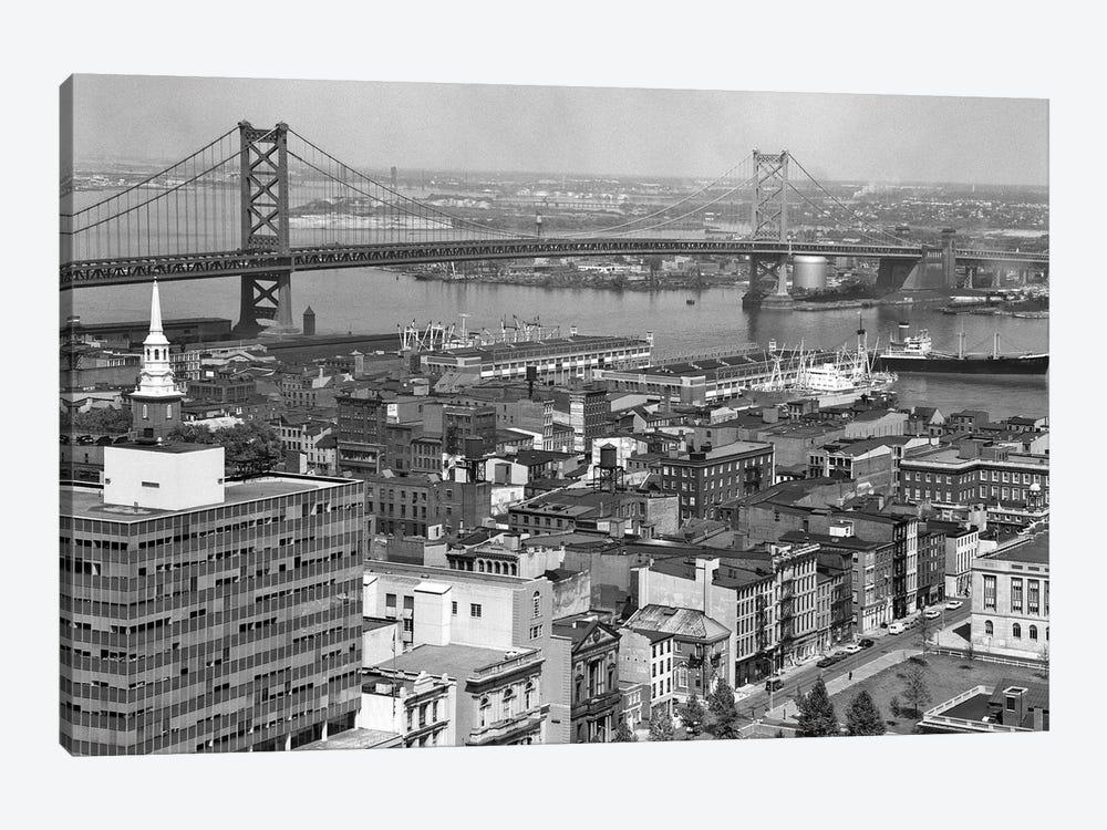 1950s Philadelphia PA USA Looking Northeast Past Delaware River Waterfront To Benjamin Franklin Suspension Bridge To Camden NJ by Vintage Images 1-piece Canvas Art
