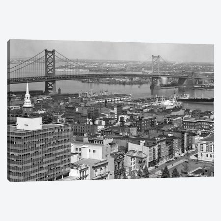 1950s Philadelphia PA USA Looking Northeast Past Delaware River Waterfront To Benjamin Franklin Suspension Bridge To Camden NJ Canvas Print #VTG331} by Vintage Images Canvas Art