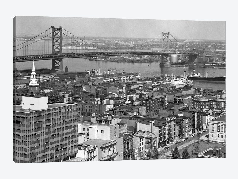 1950s Philadelphia PA USA Looking Northeast Past Delaware River Waterfront To Benjamin Franklin Suspension Bridge To Camden NJ by Vintage Images 1-piece Canvas Art