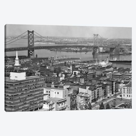 1950s Philadelphia PA USA Looking Northeast Past Delaware River Waterfront To Benjamin Franklin Suspension Bridge To Camden NJ Canvas Print #VTG331} by Vintage Images Canvas Art