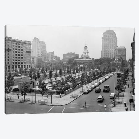 1950s Philadelphia PA USA Looking Southeast At Historic Independence Hall Building And Mall Canvas Print #VTG332} by Vintage Images Canvas Wall Art