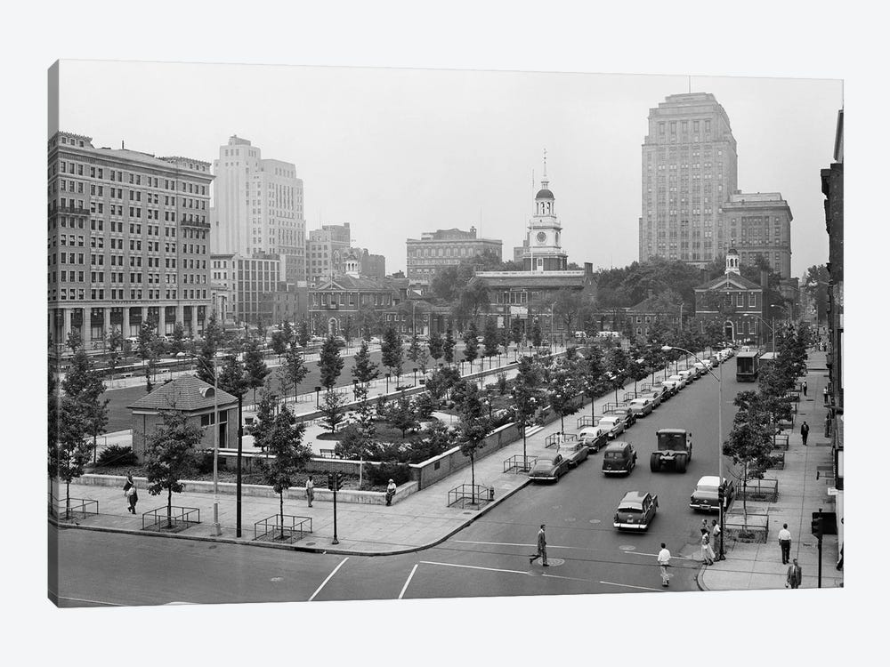 1950s Philadelphia PA USA Looking Southeast At Historic Independence Hall Building And Mall by Vintage Images 1-piece Canvas Art Print