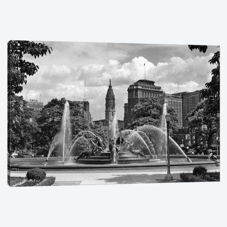 1950s Philadelphia PA USA Looking Southeast Past Swann Fountain At Logan Circle To City Hall Tower Canvas Print #VTG333} by Vintage Images Canvas Art