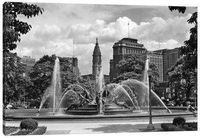 1950s Philadelphia PA USA Looking Southeast Past Swann Fountain At Logan Circle To City Hall Tower Canvas Art Print