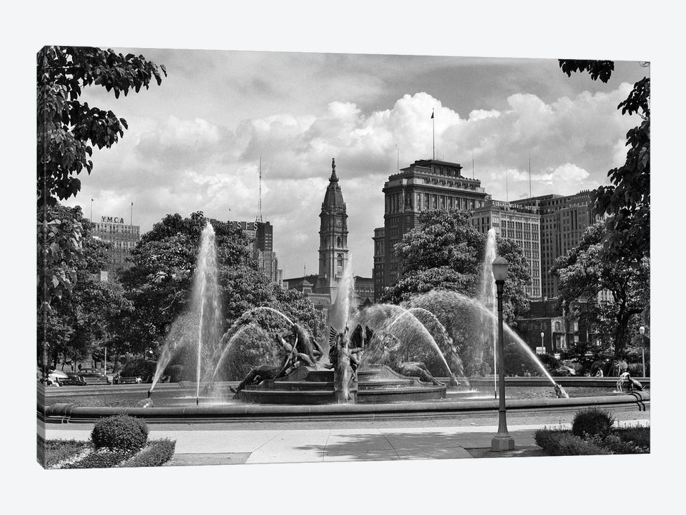 1950s Philadelphia PA USA Looking Southeast Past Swann Fountain At Logan Circle To City Hall Tower by Vintage Images 1-piece Canvas Art