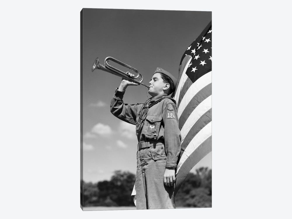 1950s Profile Of Boy Scout In Uniform Standing In Front Of 48 Star American Flag Blowing Bugle by Vintage Images 1-piece Canvas Wall Art