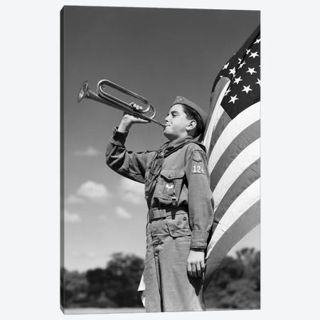 1950s Profile Of Boy Scout In Uniform Standing In Front Of 48 Star American Flag Blowing Bugle Canvas Print #VTG335} by Vintage Images Canvas Art Print