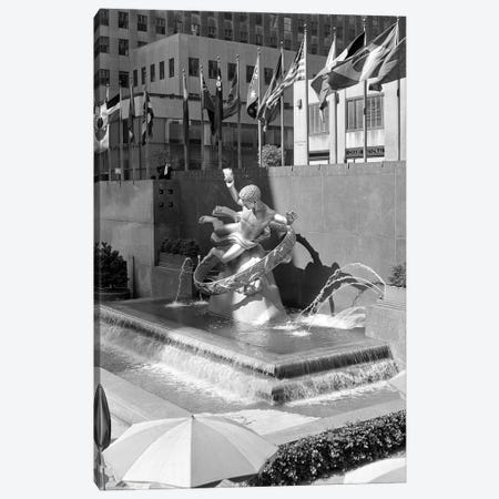 1950s Rockefeller Center Prometheus Fountain By Paul Manship And United Nations Flags New York City NY USA Canvas Print #VTG336} by Vintage Images Art Print
