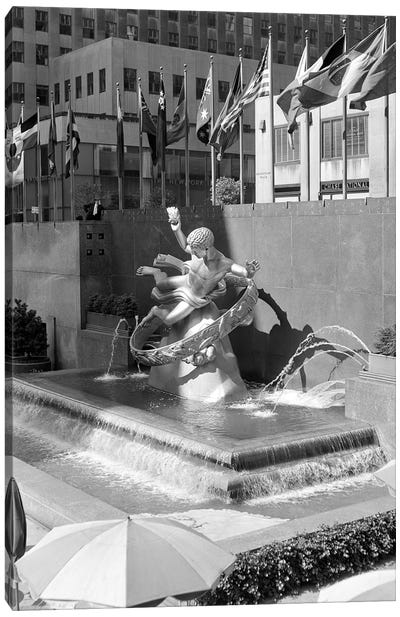 1950s Rockefeller Center Prometheus Fountain By Paul Manship And United Nations Flags New York City NY USA Canvas Art Print