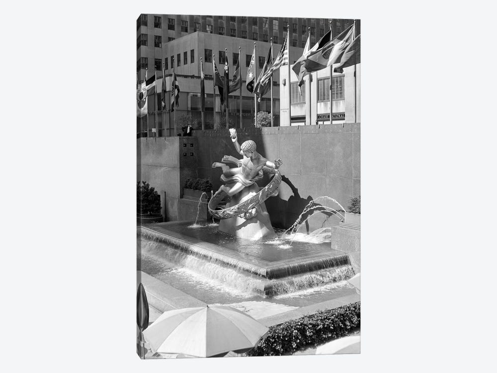 1950s Rockefeller Center Prometheus Fountain By Paul Manship And United Nations Flags New York City NY USA by Vintage Images 1-piece Art Print
