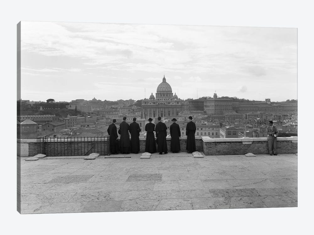 1950s Rome Italy Back View Of Student Priests Lined Up By Wall Overlooking City With View Of St. Peters Basilica In Background by Vintage Images 1-piece Canvas Artwork