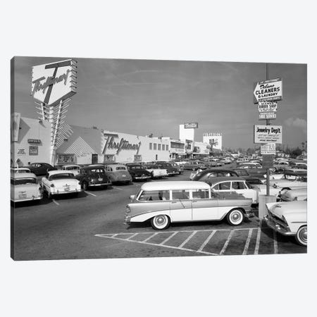 1950s Shopping Center Parking Lot Canvas Print #VTG339} by Vintage Images Canvas Wall Art