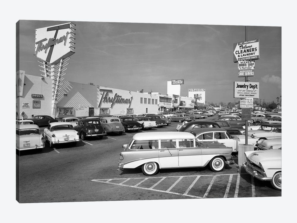 1950s Shopping Center Parking Lot by Vintage Images 1-piece Canvas Wall Art
