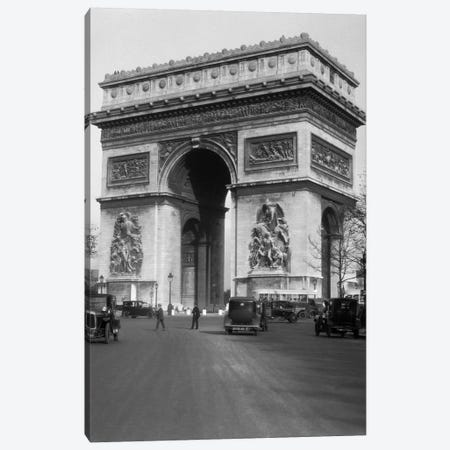 1920s Arc De Triomphe With Cars Paris France Canvas Print #VTG33} by Vintage Images Canvas Print