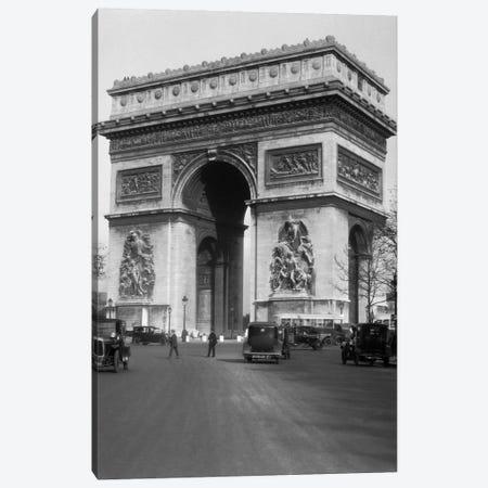 1920s Arc De Triomphe With Cars Paris France Canvas Print #VTG33} by Vintage Images Canvas Print