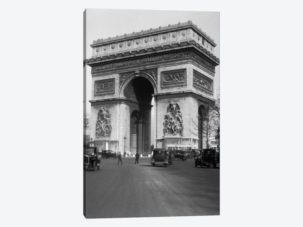 1920s Arc De Triomphe With Cars Paris France 1-piece Canvas Art