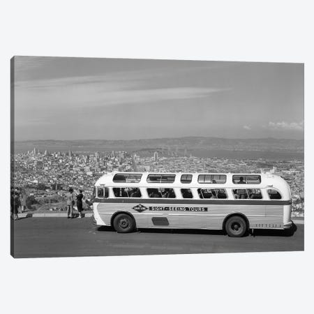 1950s Sightseeing Tour Bus Parked At Twin Peaks For View Of San Francisco And Bay Area California USA Canvas Print #VTG340} by Vintage Images Canvas Art Print