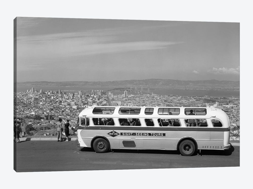1950s Sightseeing Tour Bus Parked At Twin Peaks For View Of San Francisco And Bay Area California USA by Vintage Images 1-piece Canvas Wall Art