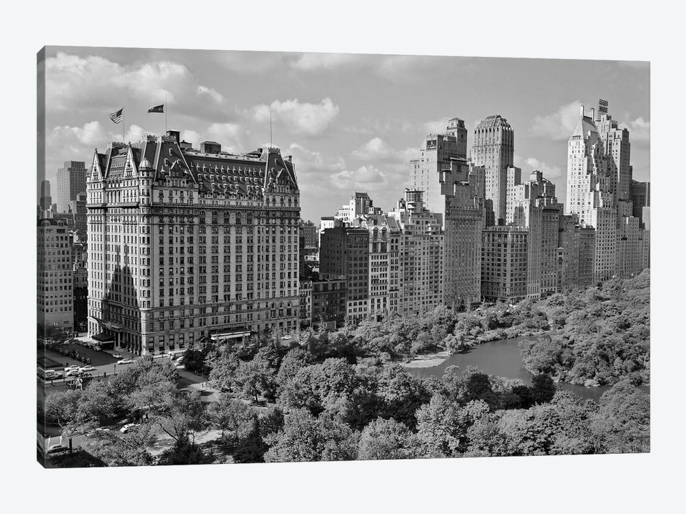 1950s Skyline Of New York City Manhattan 57Th Street Along Central Park Plaza Hotel by Vintage Images 1-piece Canvas Print